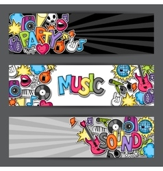 Music party kawaii banners musical instruments vector