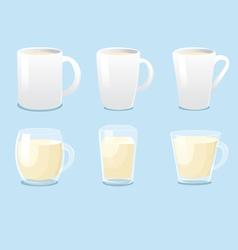 White mugs and glass mugs vector image