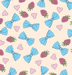 Beautiful seamless pattern with bows and hearts vector image