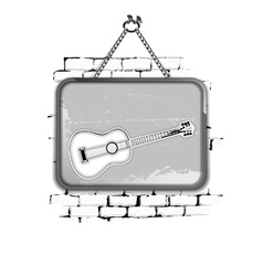 Guitar stencil pattern in a frame on brick wall vector