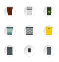 Waste rubbish icons set flat style vector