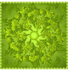 Green floral ornament background vector image