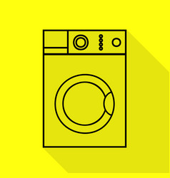 Washing machine sign black icon with flat style vector