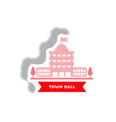 Stylish icon in paper sticker style building town vector