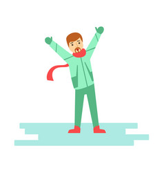 Happy young man having fun during winter holidays vector
