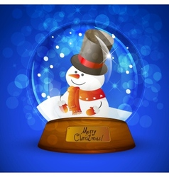 Christmas snow globe with snowman vector image