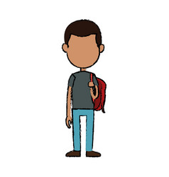 Boy cartoon student young character backpack vector