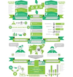 Infographic demographics business green vector