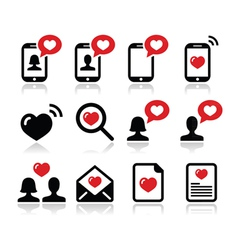 Love valentines day icons set vector