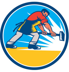 Blacksmith Worker Striking Sledgehammer Circle vector image