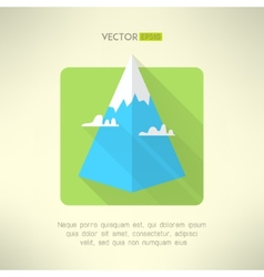 Mountain icon with clouds made in modern flat vector
