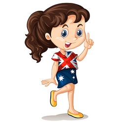 Australian girl pointing finger vector