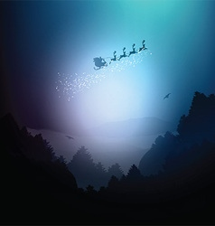Santa in the sky flying over mountains and trees vector