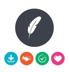 Feather sign icon retro pen symbol vector