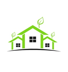 Three green houses vector