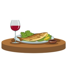 Delicious dinner with a glass of wine vector