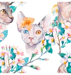 Hand drawn pattern elegant sphynx cat and tropical vector