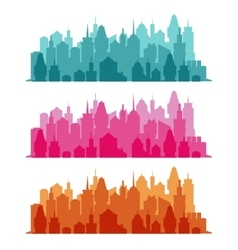 Set of cityscape colorful background vector