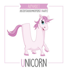alphabet letter u and unicorn vector image