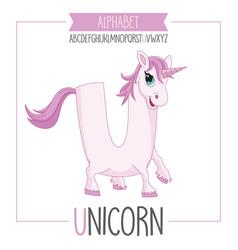 alphabet letter u and unicorn vector image vector image