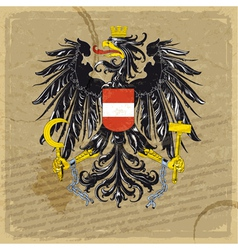 Austria coat of arms on an old sheet of paper vector image vector image
