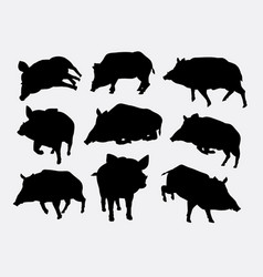 Boar mammal wild animal silhouette vector