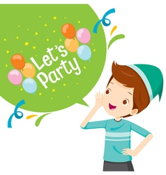 Boy Shouting With Speech Bubble Decoration vector image vector image
