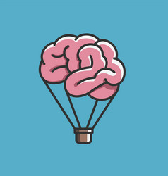 Brain like hot air balloon free mind imagination vector