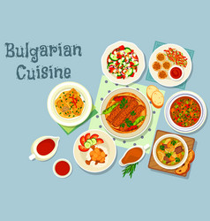 Bulgarian cuisine savory dishes icon design vector