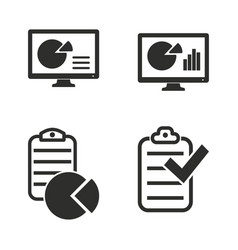business report icon set vector image vector image