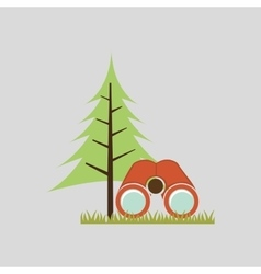 Camp design with tree and object vector
