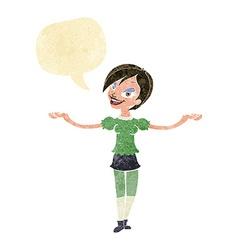 Cartoon woman making open arm gesture with speech vector