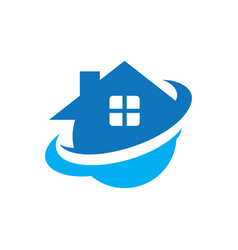 Circle home real estate logo vector
