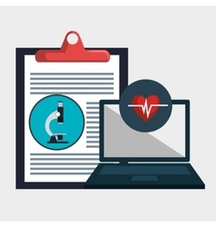 Clipboard report laptop medicine vector