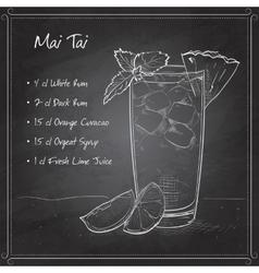 Cocktail Mai Tai on black board vector image vector image