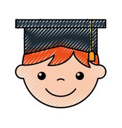 Cute boy graduated icon vector