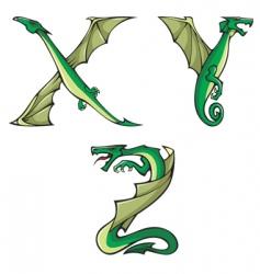 dragons Alphabet XYZ vector image vector image
