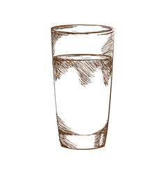 drawn by hand glass juice or water vector image