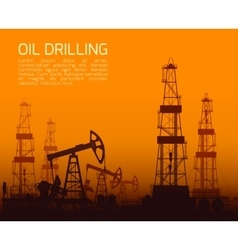 Drilling rigs and oil pumps at sunset vector
