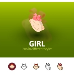 Girl icon in different style vector