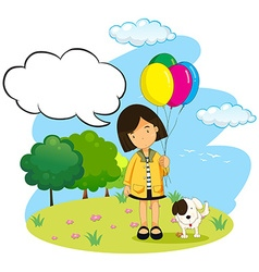 Girl with balloons and her pet dog vector image vector image