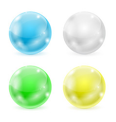 Glass balls colored 3d shiny sphere vector