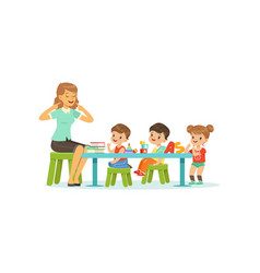Kindergarten group of little kids boys and girl vector