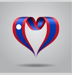 laos flag heart-shaped ribbon vector image vector image