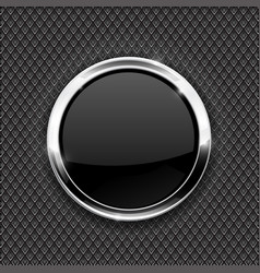 metal perforated background with black round glass vector image