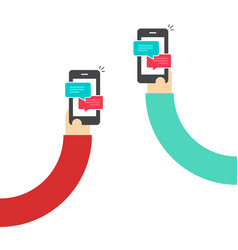 People chatting with mobile phones hands vector