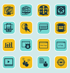 Set of 16 seo icons includes ppc web page vector