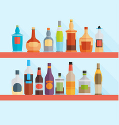 set of modern flat design drink or bar icons vector image