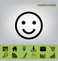 Smile icon black icon at gray background vector