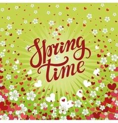 Spring time letteringcherry flowersfalling heart vector